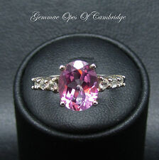 Silver 925 Pink 3.65ct Topaz Solitaire with shoulder accents Size O