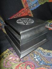 Carved  Pentacle Witches Cupboard Herb Chest Wooden Box  Wicca Altar Stand