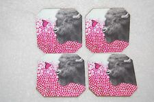 New Deny Designs Buffalo Coasters/Set of 4 Animal/Butterfly Drink Coasters