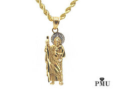Saint Jude 10k Yellow Gold Pendant with Rope Chain Set Hiphop Jewelry