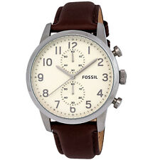 Fossil Townsman FS4872 Chronograph Brown Leather Cream Dial SS Quartz Mens Watch