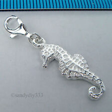 1x STERLING SILVER SEA HORSE CHARM PENDANT EUROPEAN LOBSTER CLIP ON CHARM #1821