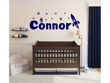 "Rocket and Astronaut Name Monogram Wall Decal #4 Boys Kids Room Vinyl 10"" Tall"