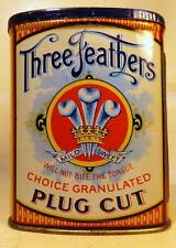 Antique Three Feathers Plug Cut Pocket Tobacco Tin w Partial 1910 Tax Stamp