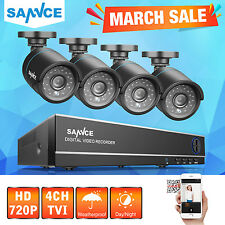 SANNCE 4CH 4in1 DVR 720P CCTV IR Home Surveillance Security Camera System Night