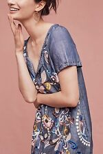 NEW ANTHROPOLOGIE Folkloric Embroidered Denim Blue Tunic Dress Small 2