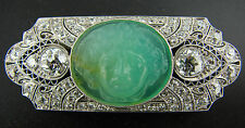 Art Deco c.1930s CARVED JADE DIAMOND PLATINUM PIN BROOCH Amazing Carving Work
