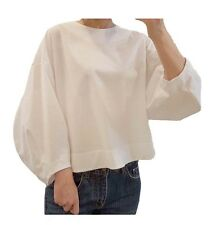 Women Oversized 3/4 Puff Long Sleeve Blouse T Shirt Top Boat Neck Korean Office