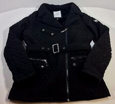 Blanc Noir Women's Quilted Belt Zipper Black Winter Fashion Jacket Coat XL