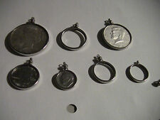 12 COIN BEZELS, NICKEL PLATED, 1 CENT TO $ MIX AND MATCH