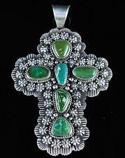 Navajo Sterling Silver Cross Pendant Stone Mountain Turquoise By Donovan Cadman