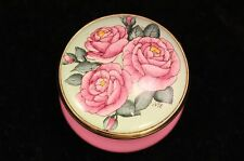 """Halcyon Days Enamels 1¼"""" Pill Box ROSE COLLECTORS SOCIETY 2001 - England"""