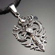 "Men's Dragon CZ Sword Pewter Pendant with 20"" Choker Necklace PP#252"
