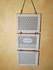 PORTAFOTO CORNICE 3 posti cm. 51 x 22 verticale legno bianco Multiplo da parete
