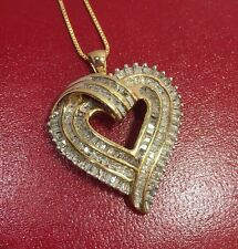 �� New 14k Yellow Gold Sterling Silver 1 Ct Carat Diamond Pave Heart 925 Pendant