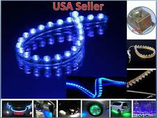 2 Pcs 24cm 24 LEDs Flexible PVC Strip Light Waterproof Blue
