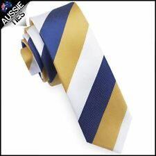 Mens Blue, Yellow & White Stripes Skinny Tie North Queensland Cowboys Colours