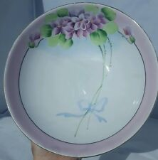 "Vintage MEITO CHINA Purple Floral Hand Painted 8.5"" bowl, Made in Japan"