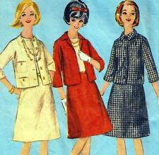 "Vintage 60s Mod SUIT Jacket A-LINE SKIRT Sewing Pattern Bust 34"" Size 10 RETRO"