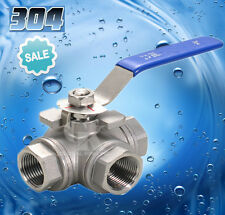 "DN50 G2"" BSPP Female 3-Way T-Port 304 Stainless Steel Ball Valve Water Oil"