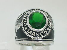 925 Silver United States Mason Masonic May Emerald Stone Men Ring Size 9