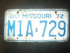 1972 JULY M1A-729   LICENSE PLATE ONLY ONE