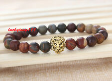 Men's Natural Picasso Jasper Gemstone Gold Lion Beaded Charm Bracelet Cheapest