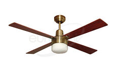 "Martec Alpha 48"" Antique Brass Ceiling Fan With Clipper Light"