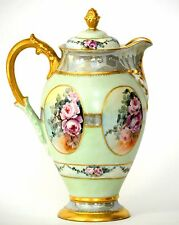 LIMOGES HAND PAINTED ROSES CHOCOLATE POT DATED 1903