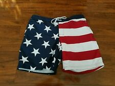 2XL/XXLARGE  Swim Trunks-Red Navy Blue/White Flag Print-St Johns Bay-NWT