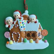 Gingerbread Christmas Ornament for Family of 3 - Personalized