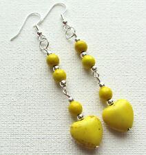 Yellow Howlite Heart Gemstone Drop/Dangle PIERCED Earrings Jellybean