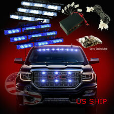 54 LED Car Truck Strobe Emergency Warning Light for Deck Dash Grill Blue White