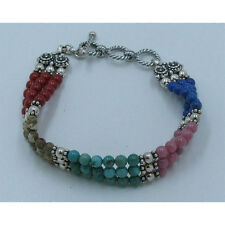 QVC Sterling Silver Multi-stone Turquoise Lapis Coral Triple Strand Bracelet