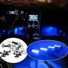 4x Blue Interior 3 LED Glow Lighting Inside Cars/Trucks Accessories Floor Decor