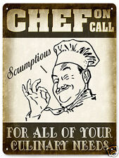 CHEF on call METAL SIGN culinary cook VINTAGE style restaurant diner kitchen 117