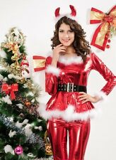 Sexy Women's Metallic Red Horny Santa Fancy Dress Costume Christmas Party