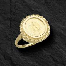 14K Gold 18 MM LADIES COIN RING with a 22K MEXICAN DOS PESOS Coin