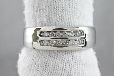Men's 2 Row .20 ct G/SI2 GIA Spec Diamond Wedding Band in 14k Solid Gold