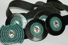 Spectacular 9 section turquoise petti Point Kachina dancer Concho Belt