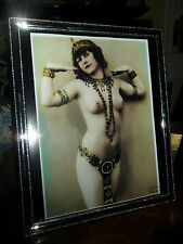 ART DECO VINTAGE OLD CLEOPATRA EGYPTIAN NAKED LADY SILVER PICTURE PHOTO IN FRAME
