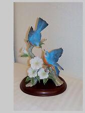 HOMCO PORCELAIN BIRD FIGURINE MIZUNO * SPRINGTIME SONG BLUEBIRDS WITH BASE