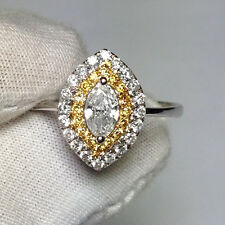 18ct White Gold Stunning Natural Fancy Yellow and White Diamonds Ring VS/G