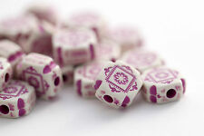 Purple White Acrylic Beads Etched Carved Flat Square Cross Beads 11mm (20)