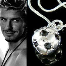 w Swarovski Crystal ~3D Football Soccer Ball Pendant Charm Chain Necklace Unisex