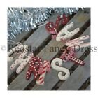 Shabby Chic Christmas Garland Wooden Red White Cream Vintage Hanging Decoration