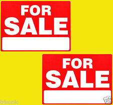 "TWO FOR SALE SIGN 9""X12"" WEATHER RESIST PLASTIC THIN FLEXIBLE WRITE IN BOX"