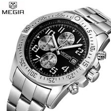 MEGIR Casual Watches Mens Stainless Steel Quartz-watch Sports Chronograph Watch