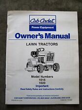 Cub Cadet 1015 1020 Lawn Tractor Owners Manual