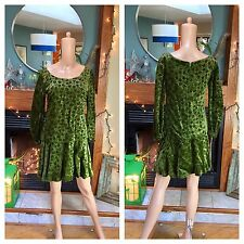 Vtg 60s Crushed Velvet Drop Waist Mini Mod Long Sleeve Green Party Dress M L